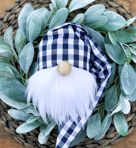 Navy Plaid Easter Basket Gnome