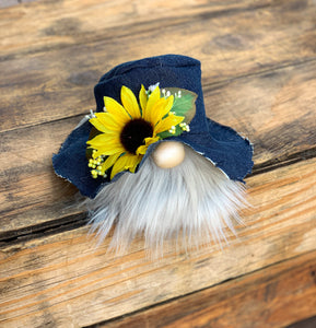 Denim Sunflower Tea Party Gnome