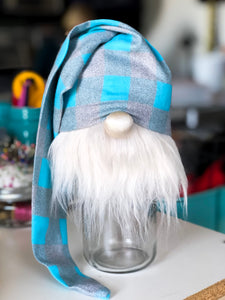 Aqua Buffalo Plaid Gnome