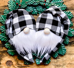 Black & White Buffalo Plaid Christmas Twins