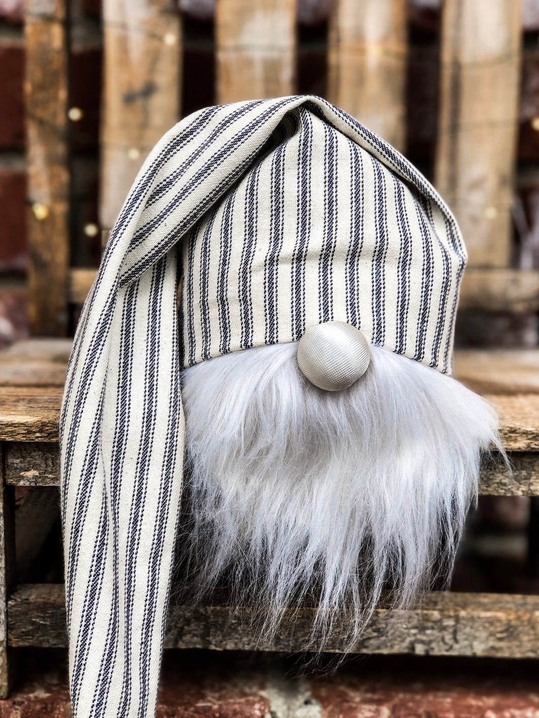 Navy Ticking Stripe Farmhouse Gnome