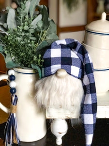 Navy Buffalo Plaid Gnome