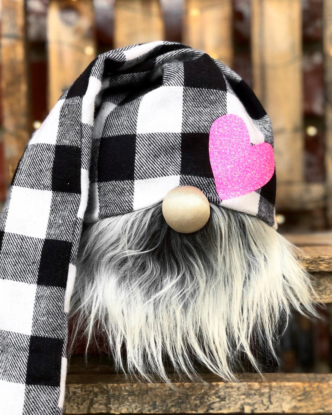 Pink Heart Buffalo Plaid Valentines Gnome