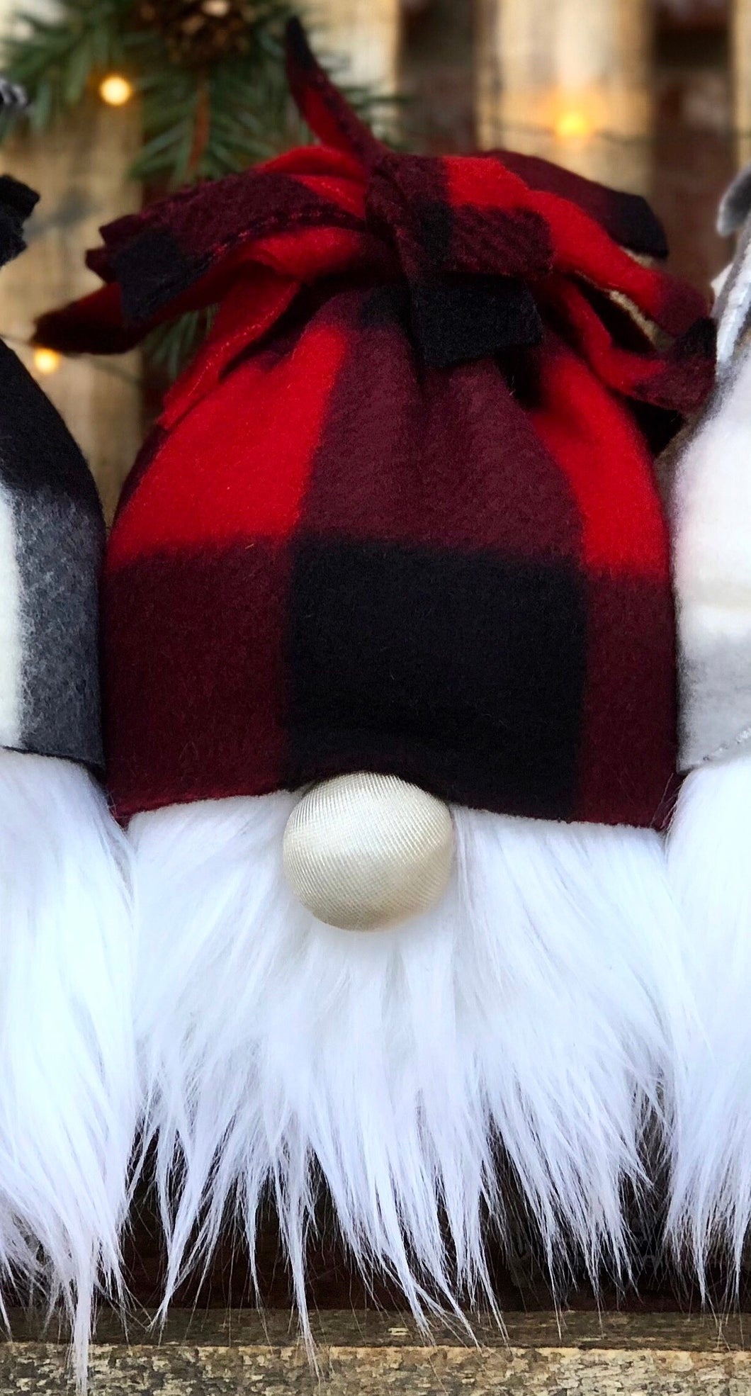 Black & Red Buffalo Snow Bunny Gnome
