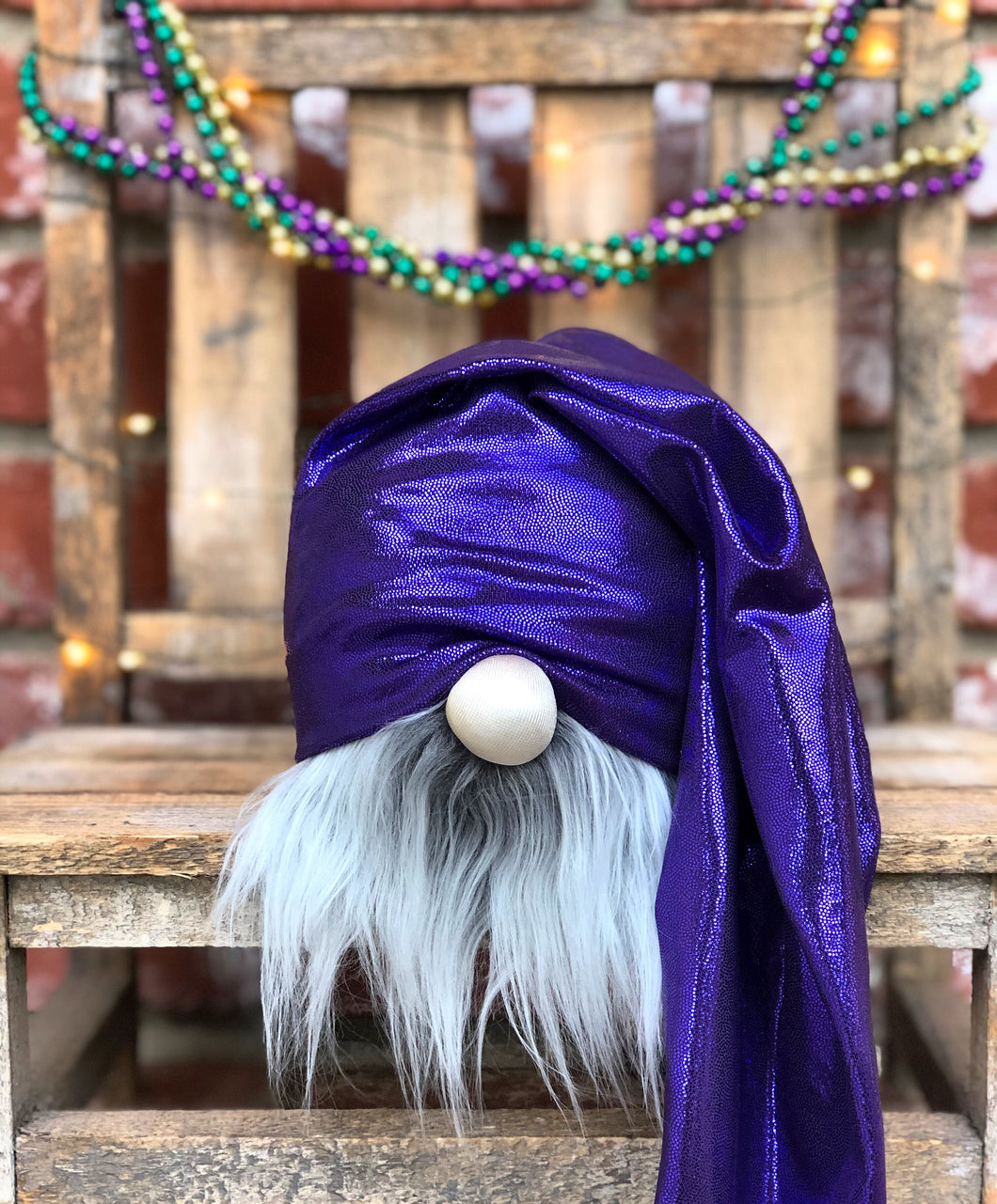 Purple Mardi Gras Gnome