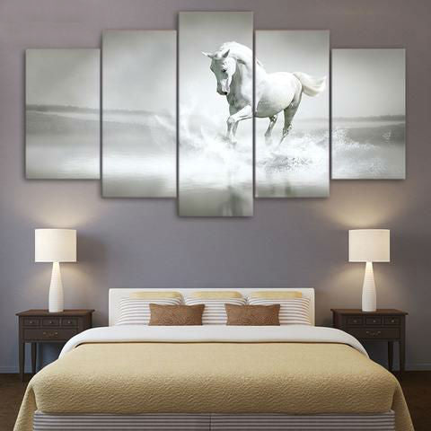 White Horse on Beach 5 Piece Canvas