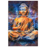Abstract Meditating Buddha 3 Piece Canvas