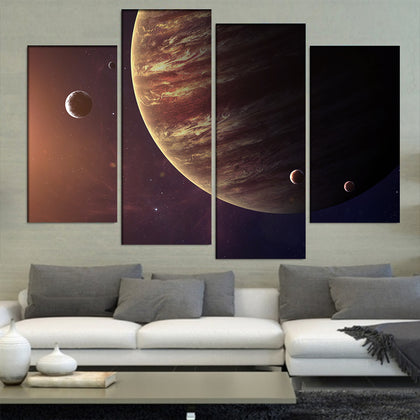 Jupiter With Its Moons 4 Piece Canvas