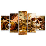 Skull with Nautical Adventure Tool 5 Piece Canvas