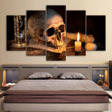 Scary Skull Burning Candle 5 Piece Canvas