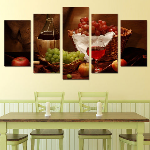 Wine Fruit Drink  5 Piece Canvas