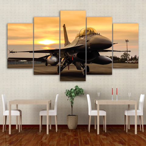 Airplane Sunset On Field 5 Piece Canvas