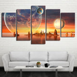 Planet Earth, Moon, Islands & Sunset 5 Piece Canvas