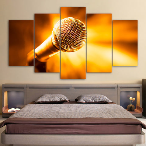 Golden Microphone 5 Piece Canvas