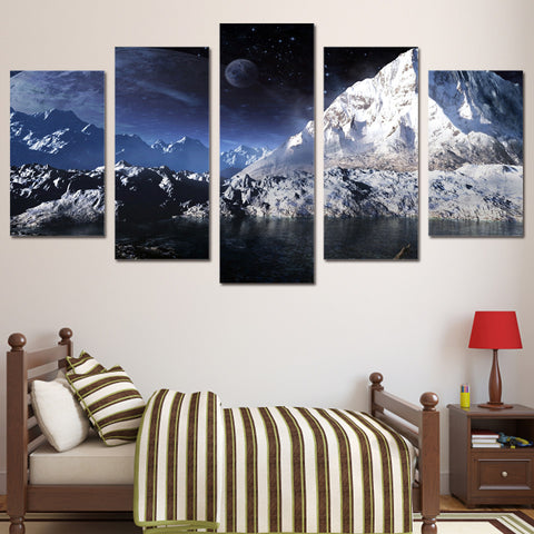 Snow Mountain Lake 5 Piece Canvas