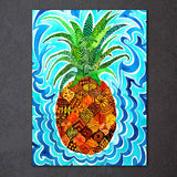 Phychedelic Pineappl by Rachel Rosenkoetter 1 Piece Canvas