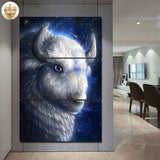White Buffalo by KhaliaArt 3 Piece Canvas