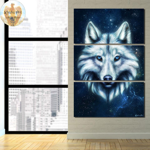 Wolf Head by KhaliaArt 3 Piece Canvas