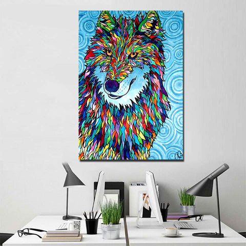 Wolffadelic by Rachel Rosenkoetter 1 Piece Canvas