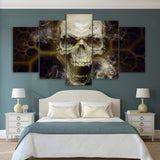 Skull with Smoke 5 Piece Canvas