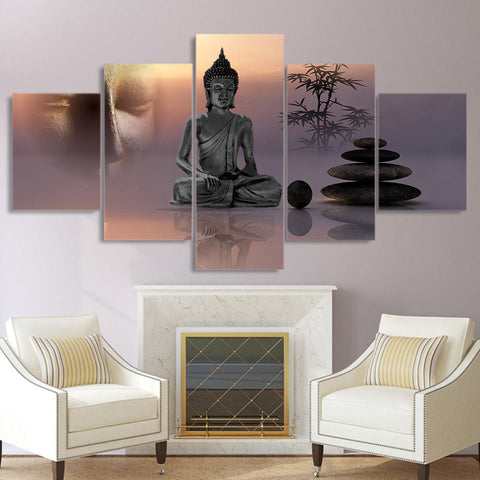 Meditating Buddha with Rock 5 Piece Canvas