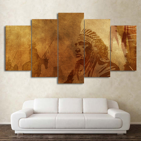 American Indian Man 5 Piece Canvas