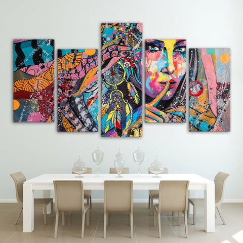 American Indian Dream Catcher 5 Piece Canvas