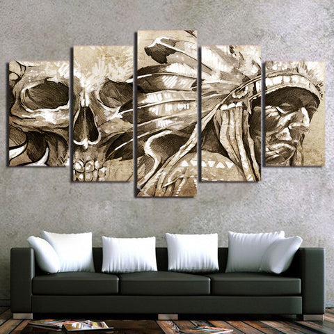 American Indian Vintage with Skull 5 Piece Canvas