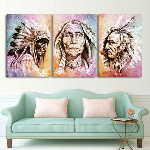 American Indians Feather 3 Piece Canvas