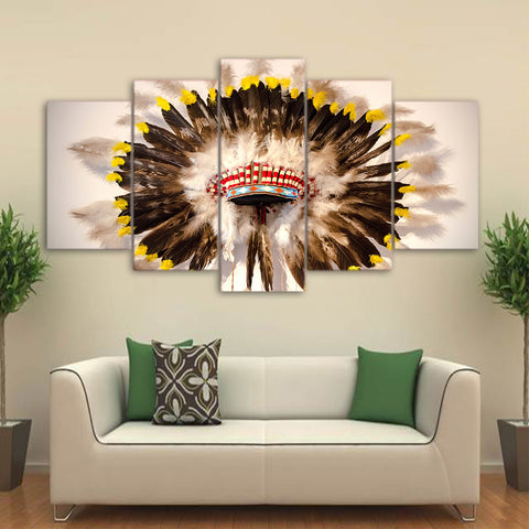 Native American Indian Hat Feathered 5 Piece Canvas