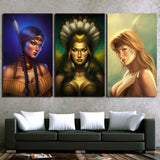 Indian Women Feather 3 Piece Canvas