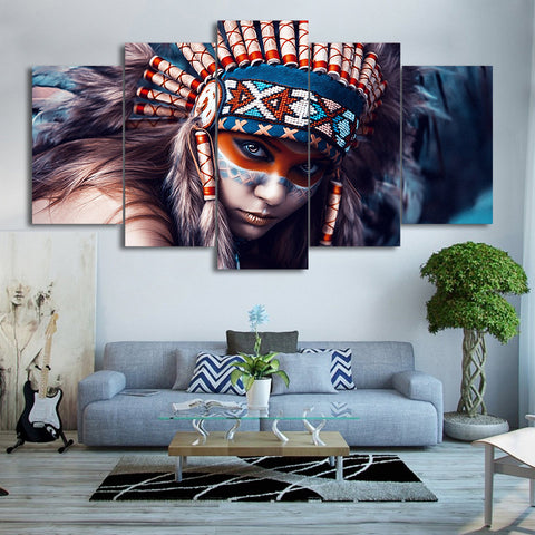 American Indian Girl with Red Feather 5 Piece Canvas
