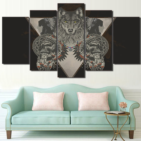 American Indian Wolf 5 Piece Canvas