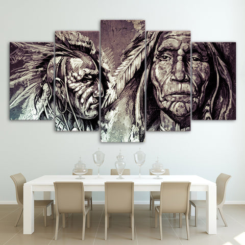 American Indians Vintage 5 Piece Canvas