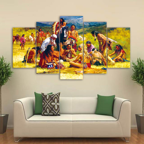 American Indian Group 5 Piece Canvas