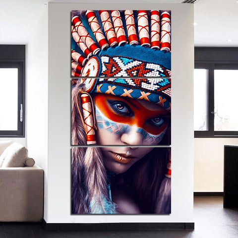 American Indian Girl with Red Feather 3 Piece Canvas