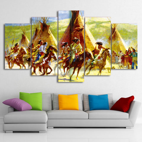 American Indian Riding Horses 5 Piece Canvas