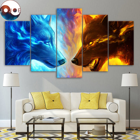 Fire and Ice by JoJoesArt 5 Piece Canvas