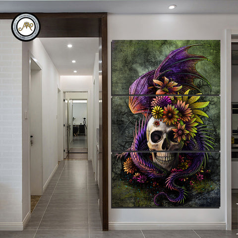 Flowery Skull by Sunima-MysteryArt 3 Piece Canvas