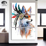 Fox by Pixie Cold Art 3 Piece Canvas