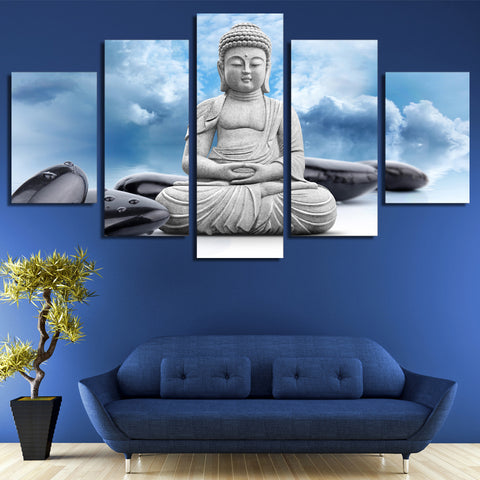 Blue Sky Clouds Zen Buddha 5 Piece Canvas