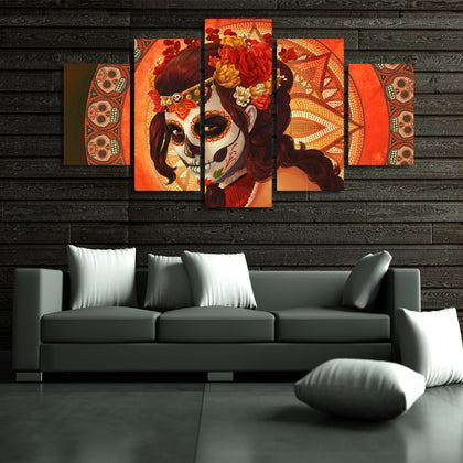 Day of the Dead Face Sugar Skull 5 Piece Canvas
