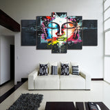 Colored Abstract Buddha 5 Piece Canvas
