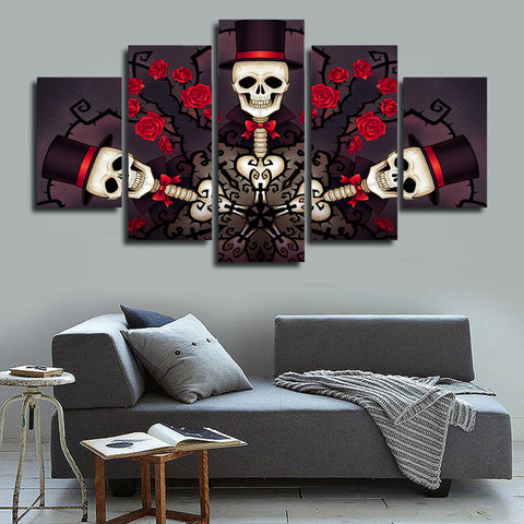 Skull and  Red Roses 5 Piece Canvas