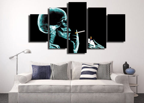 Skull with Cigarette 5 Piece Canvas