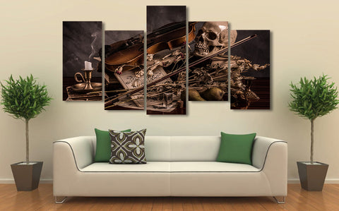 Music Cherep Svecha Skull 5 Piece canvas