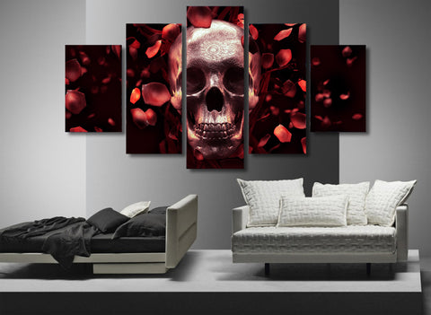 Skull with Petals 5 Piece canvas