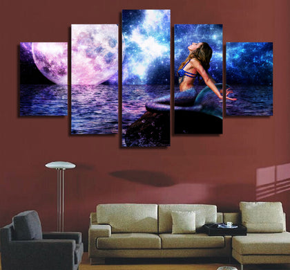 Mermaid and Purple Moon 5 Piece Canvas
