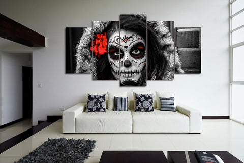 Sugar Skull Day of Dead Face with Flower 5 Piece Canvas