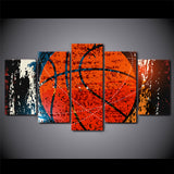 Red Basketball 5 Piece Canvas